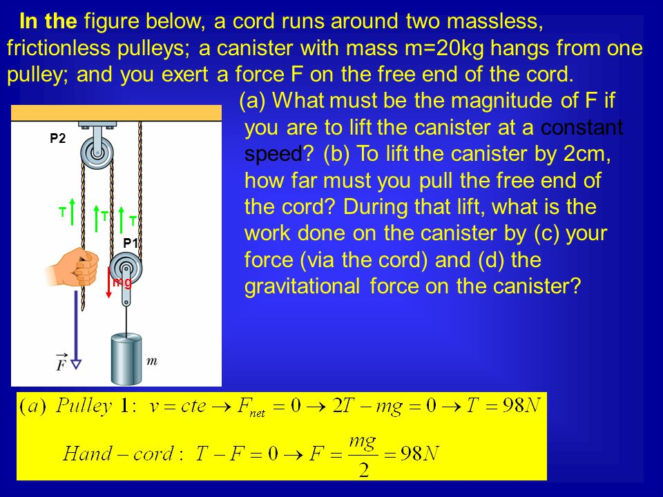 In the figure below, a cord runs around two massless, frictionless pulleys; a canister with mass m=20kg hangs from one pulley; and you exert a force F