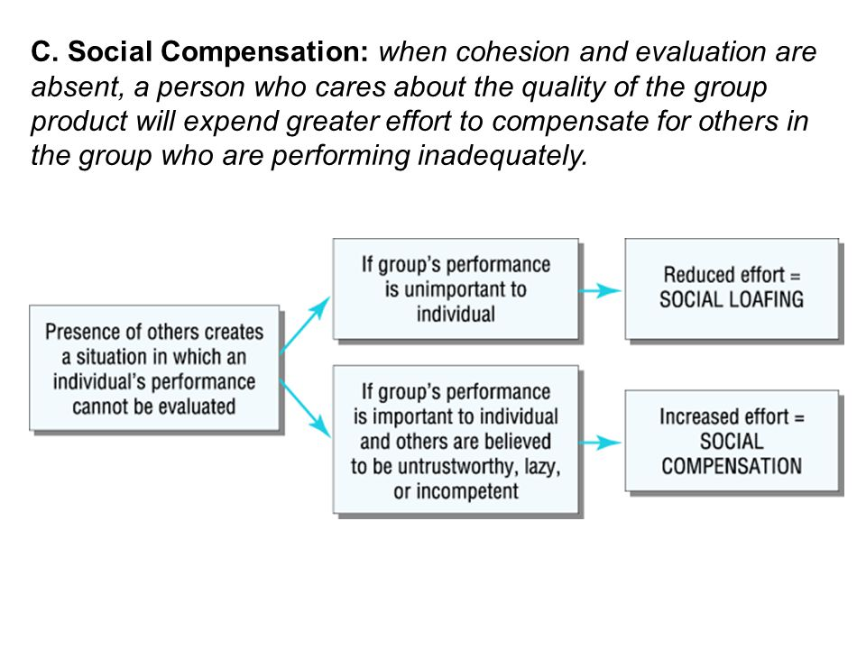 C. Social Compensation: when cohesion and evaluation are absent, a person who cares about the quality of the group product will expend greater effort