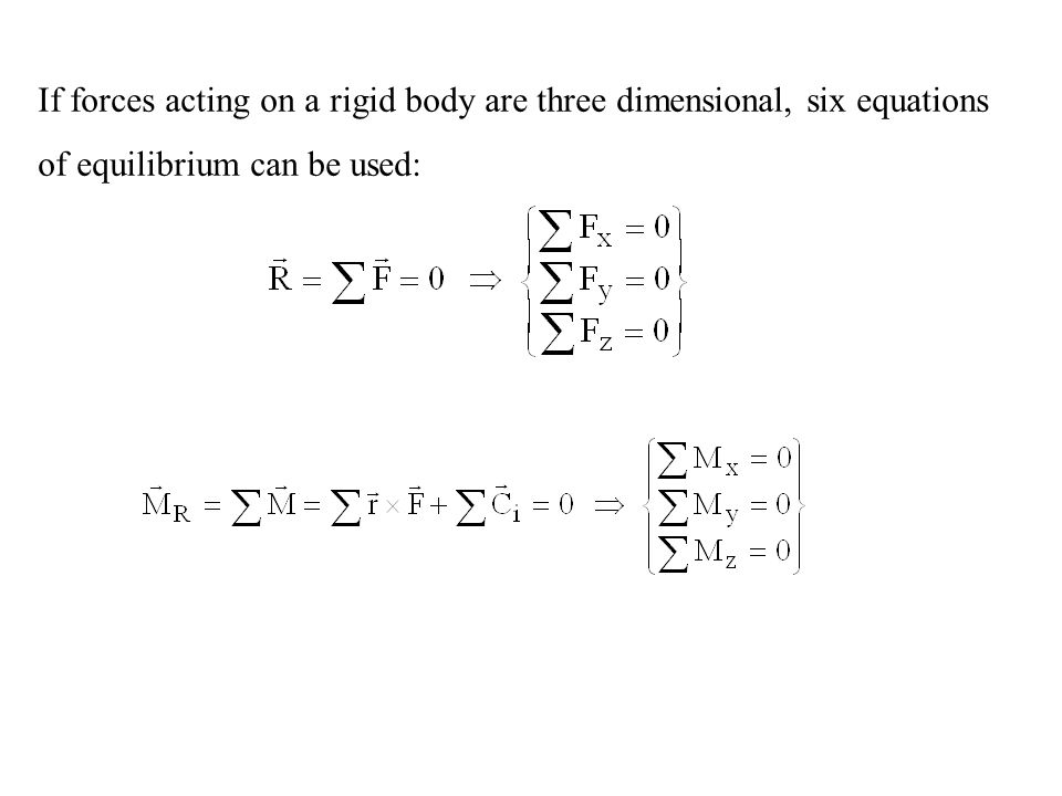 At most six unknowns can be determined in three dimensional rigid body equilibrium problems.