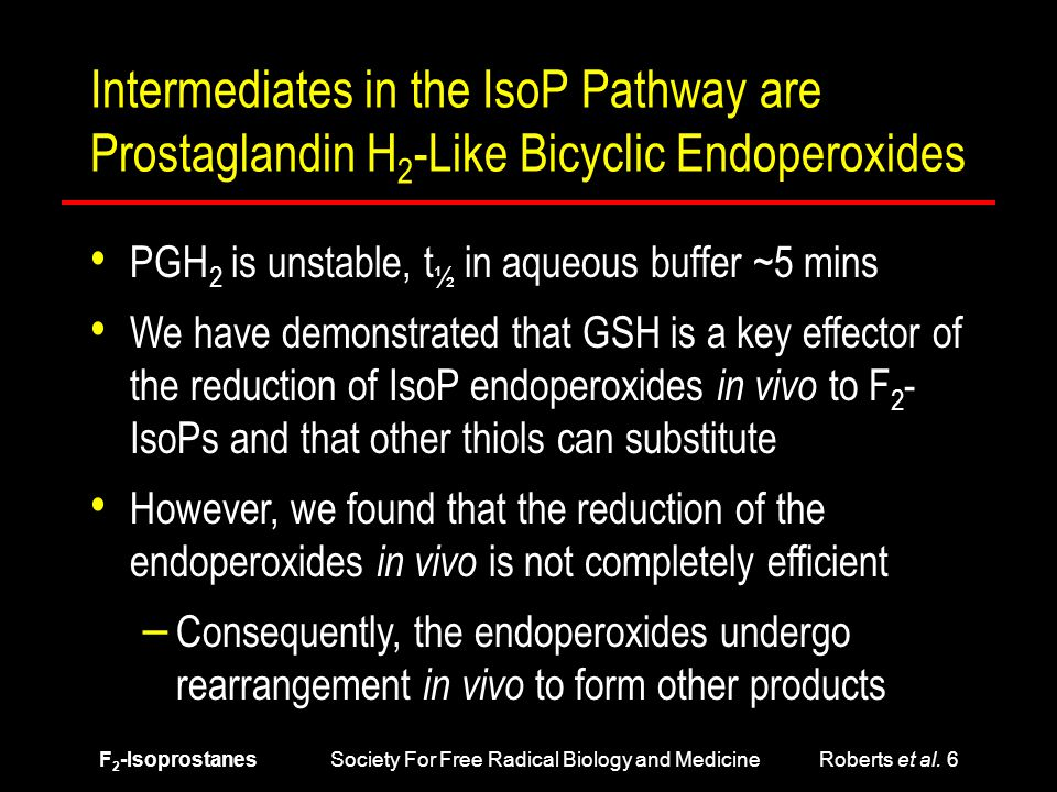 F 2 -Isoprostanes Society For Free Radical Biology and Medicine Roberts et al. 6 Intermediates in the IsoP Pathway are Prostaglandin H 2 -Like Bicycli