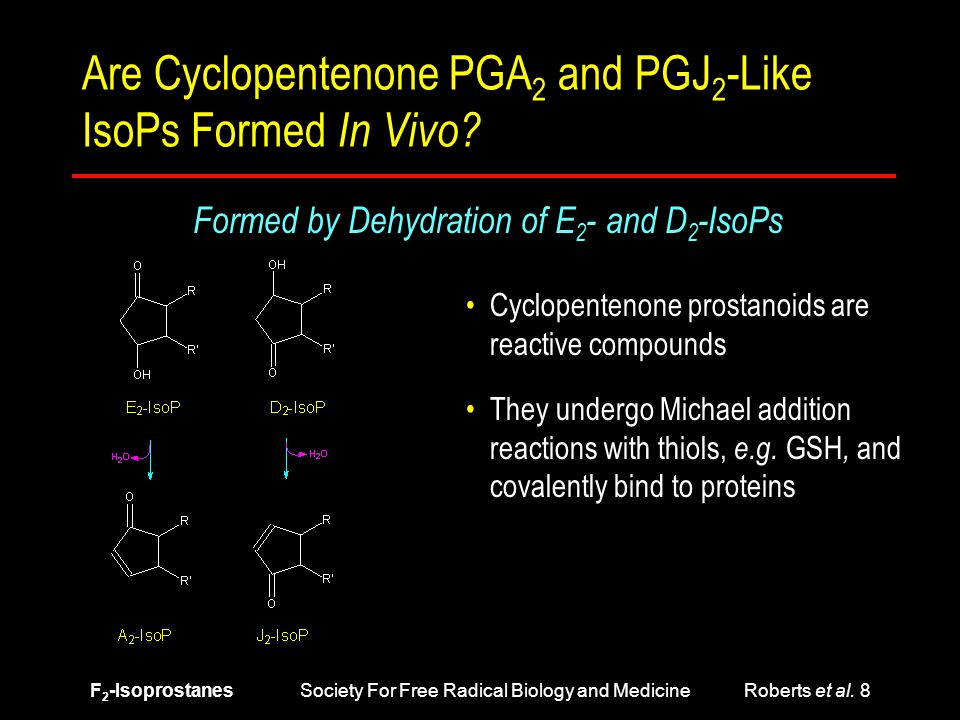 F 2 -Isoprostanes Society For Free Radical Biology and Medicine Roberts et al. 8 Are Cyclopentenone PGA 2 and PGJ 2 -Like IsoPs Formed In Vivo? Formed