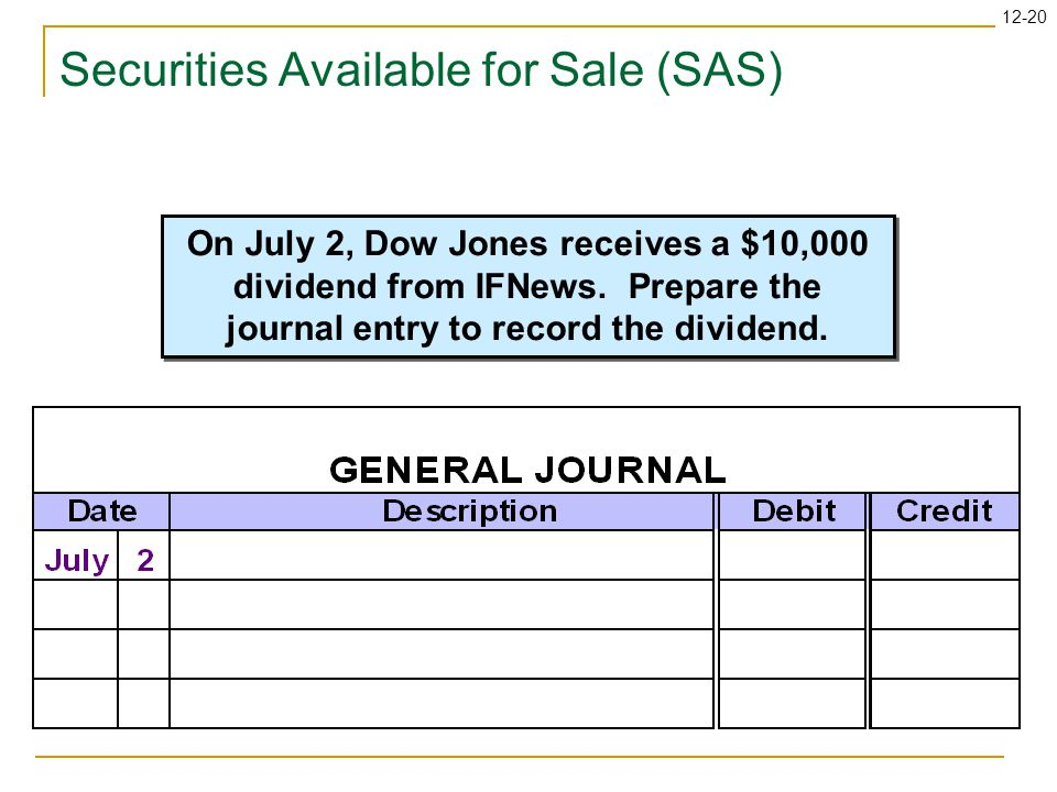 12-20 Securities Available for Sale (SAS) On July 2, Dow Jones receives a $10,000 dividend from IFNews.
