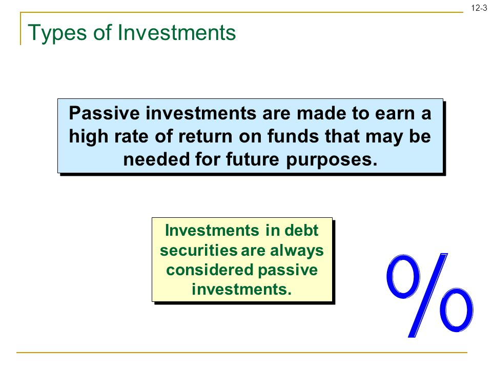 12-4 Types of Investments Equity security investments are presumed passive if the investing company owns less than 20% of the outstanding voting shares.