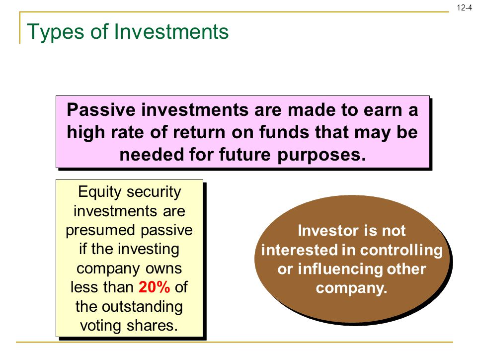 12-35 Focus on Cash Flows Investing activities: Purchase of investment (cash outflow) Sale of investment (cash inflow) Investing activities: Purchase of investment (cash outflow) Sale of investment (cash inflow) Operating activities: Gain on sale of investment (subtract from net income) Loss on sale of investment (add to net income) Equity in earnings of investee (subtract from net income) Dividends from investee (add to net income) Unrealized holding gains trading securities (subtract from net income) Unrealized holding losses trading securities (add to net income) Operating activities: Gain on sale of investment (subtract from net income) Loss on sale of investment (add to net income) Equity in earnings of investee (subtract from net income) Dividends from investee (add to net income) Unrealized holding gains trading securities (subtract from net income) Unrealized holding losses trading securities (add to net income)