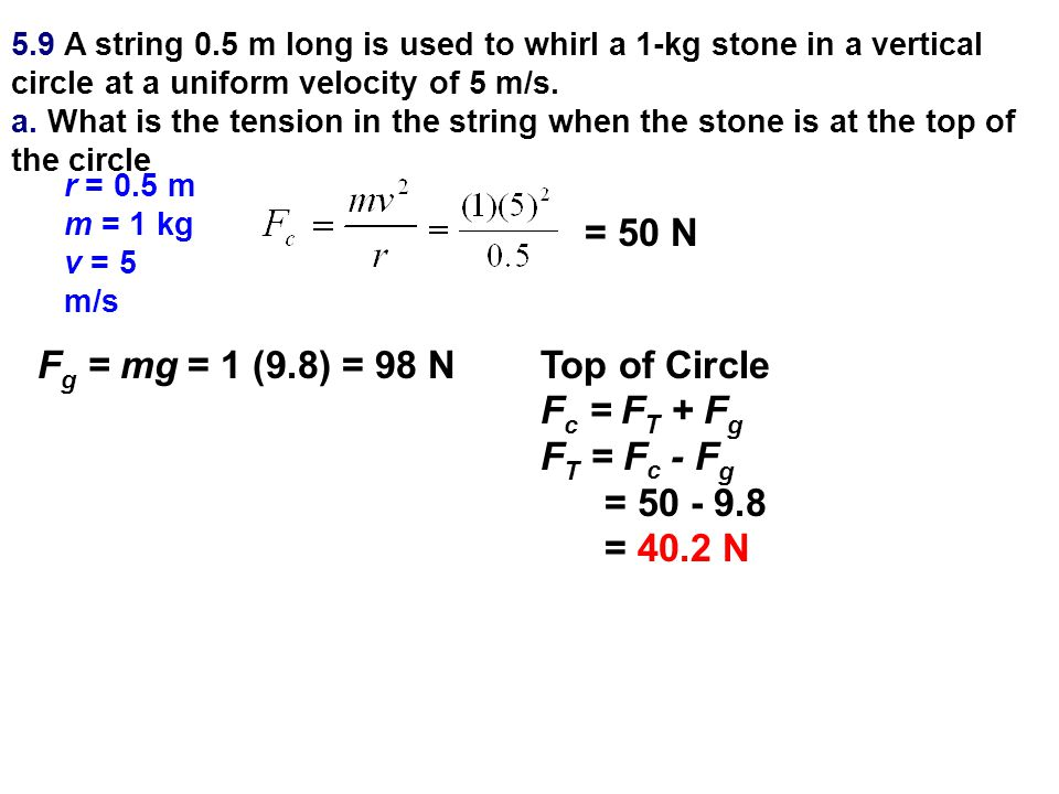 5.9 A string 0.5 m long is used to whirl a 1-kg stone in a vertical circle at a uniform velocity of 5 m/s. a. What is the tension in the string when t