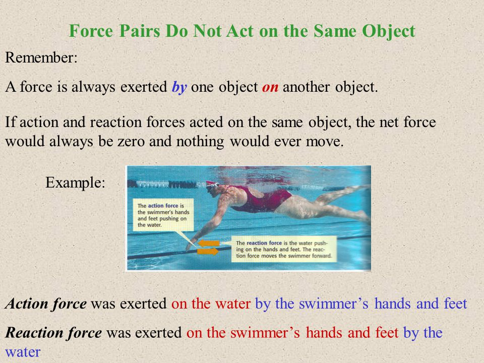 Action and reaction force pairs occur even if there is no motion.