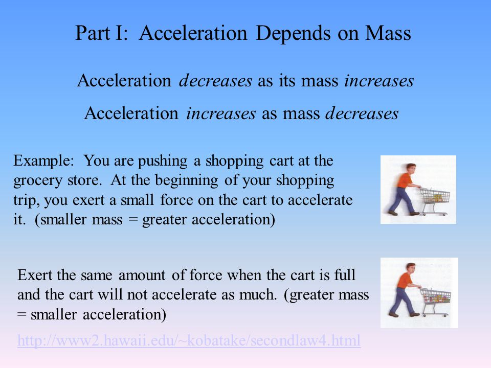 Newton's Second Law of Motion The acceleration of an object depends on the mass of the object and the amount of force applied.