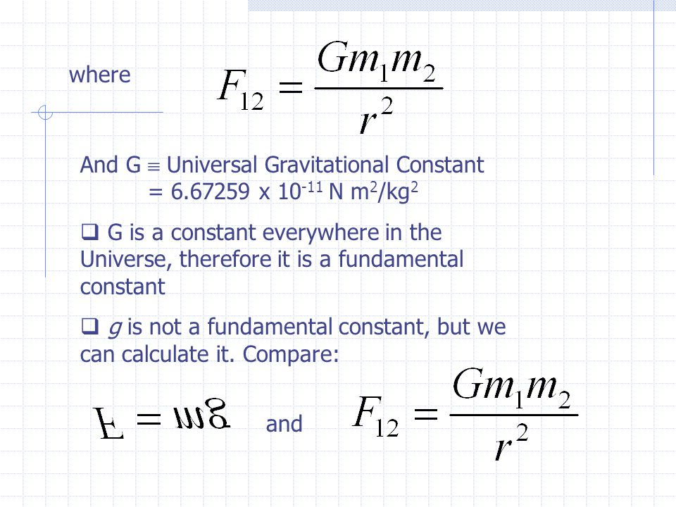 where And G  Universal Gravitational Constant = 6.67259 x 10 -11 N m 2 /kg 2  G is a constant everywhere in the Universe, therefore it is a fundamental constant  g is not a fundamental constant, but we can calculate it.