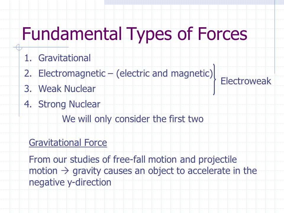 Fundamental Types of Forces 1.Gravitational 2.Electromagnetic – (electric and magnetic) 3.Weak Nuclear 4.Strong Nuclear Electroweak We will only consider the first two Gravitational Force From our studies of free-fall motion and projectile motion  gravity causes an object to accelerate in the negative y-direction