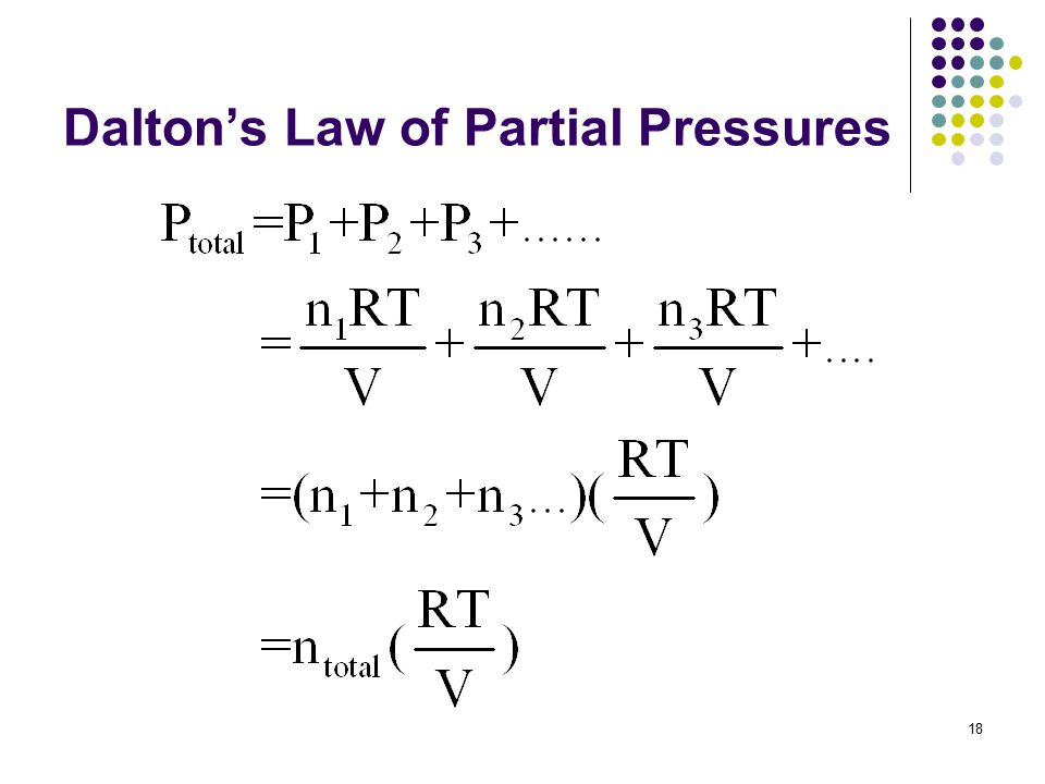 18 Dalton's Law of Partial Pressures
