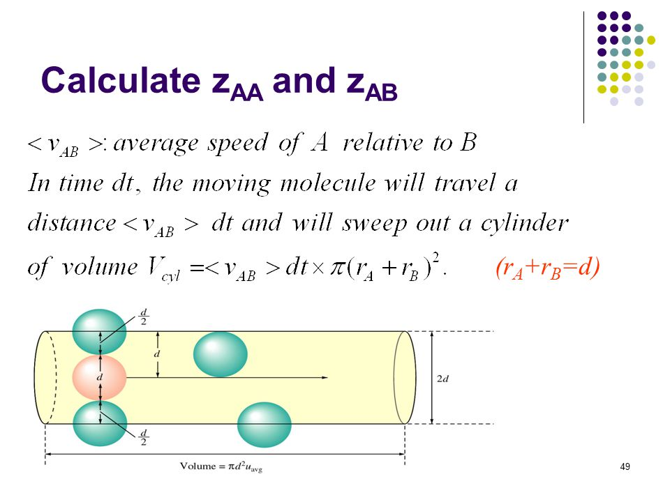 49 Calculate z AA and z AB (r A +r B =d)
