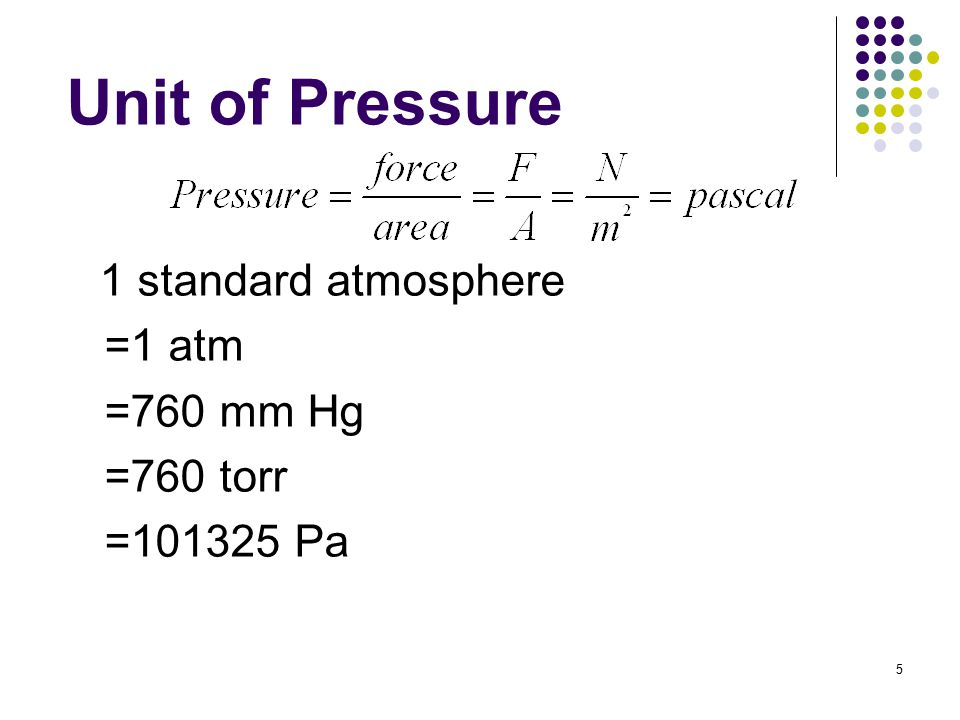 5 Unit of Pressure 1 standard atmosphere =1 atm =760 mm Hg =760 torr =101325 Pa