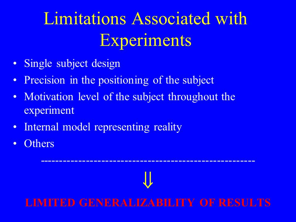 Limitations Associated with Experiments Single subject design Precision in the positioning of the subject Motivation level of the subject throughout the experiment Internal model representing reality Others --------------------------------------------------------  LIMITED GENERALIZABILITY OF RESULTS