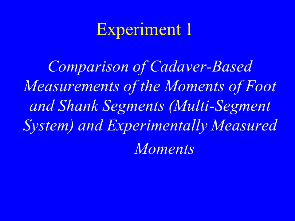 Experiment 1 Comparison of Cadaver-Based Measurements of the Moments of Foot and Shank Segments (Multi-Segment System) and Experimentally Measured Moments