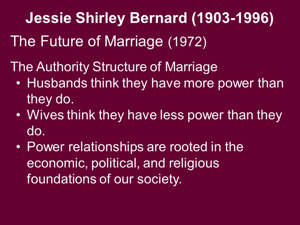 Jessie Shirley Bernard (1903-1996) The Authority Structure of Marriage Husbands think they have more power than they do. Wives think they have less po