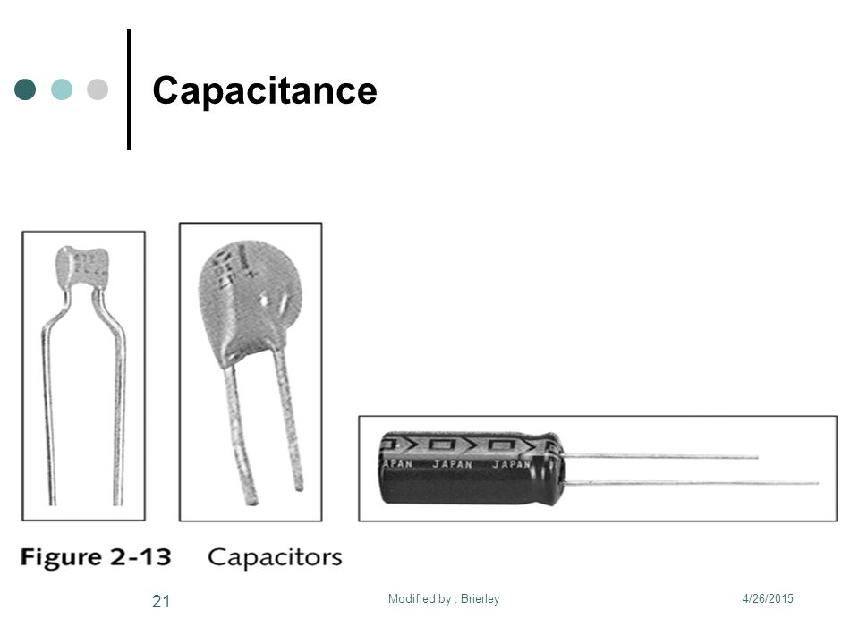 Capacitance 4/26/2015 21 Modified by : Brierley