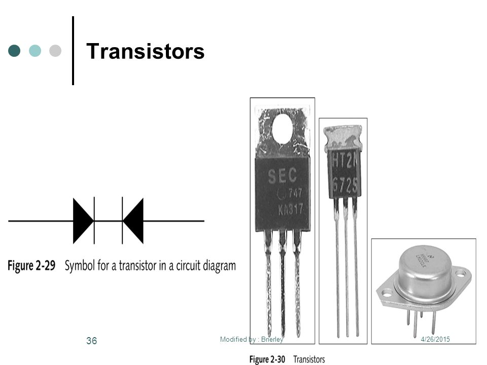 Transistors 4/26/2015 36 Modified by : Brierley
