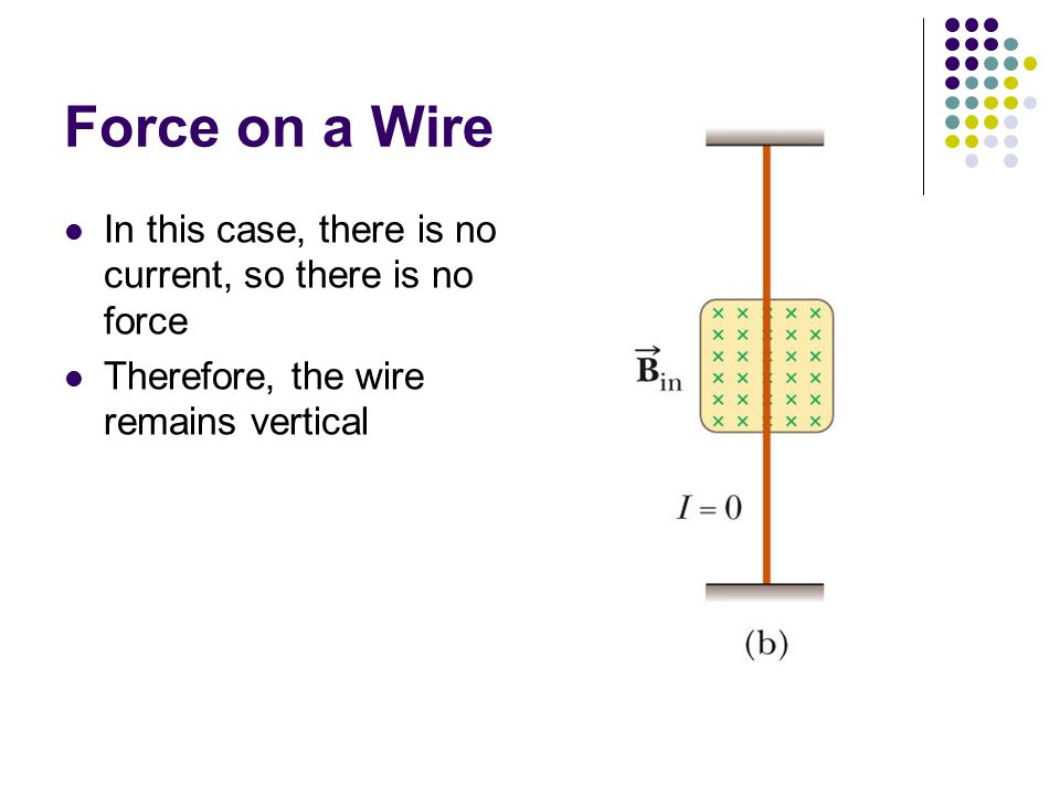 Force on a Wire In this case, there is no current, so there is no force Therefore, the wire remains vertical