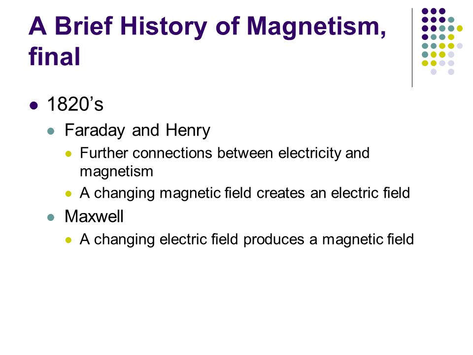 A Brief History of Magnetism, final 1820's Faraday and Henry Further connections between electricity and magnetism A changing magnetic field creates an electric field Maxwell A changing electric field produces a magnetic field