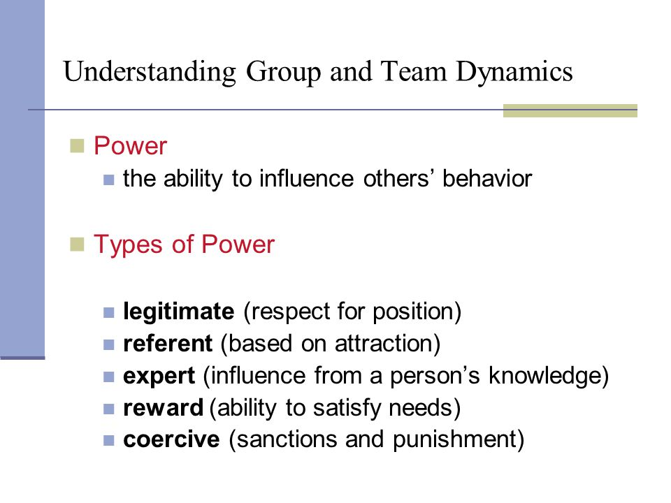 Understanding Group and Team Dynamics Power the ability to influence others' behavior Types of Power legitimate (respect for position) referent (based on attraction) expert (influence from a person's knowledge) reward (ability to satisfy needs) coercive (sanctions and punishment) Chapter 9: Understanding Group and Team Communication