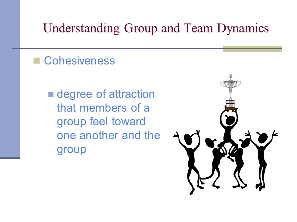 Understanding Group and Team Dynamics Cohesiveness degree of attraction that members of a group feel toward one another and the group Chapter 9: Understanding Group and Team Communication