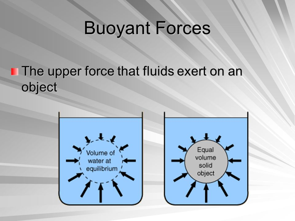 Buoyant Forces The upper force that fluids exert on an object