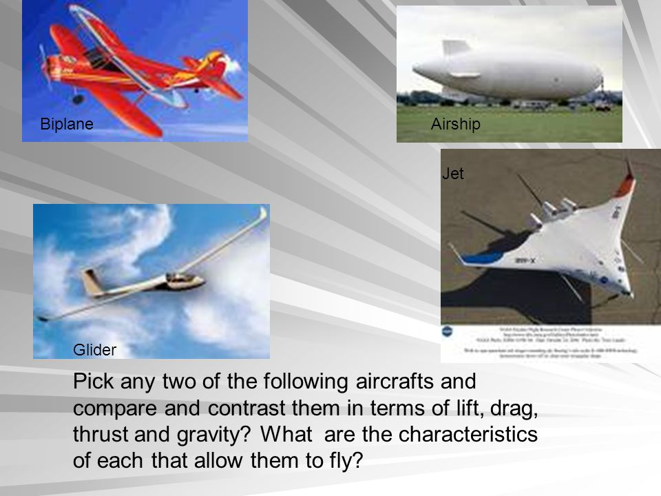 BiplaneAirship Glider Jet Pick any two of the following aircrafts and compare and contrast them in terms of lift, drag, thrust and gravity.