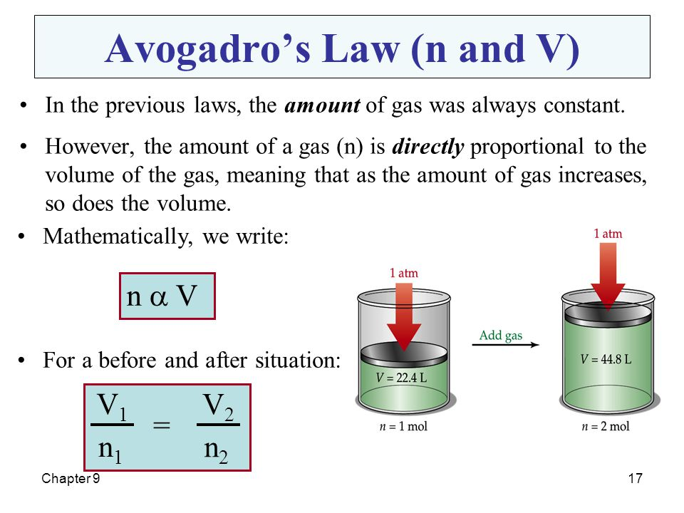 Chapter 917 Avogadro's Law (n and V) In the previous laws, the amount of gas was always constant. However, the amount of a gas (n) is directly proport