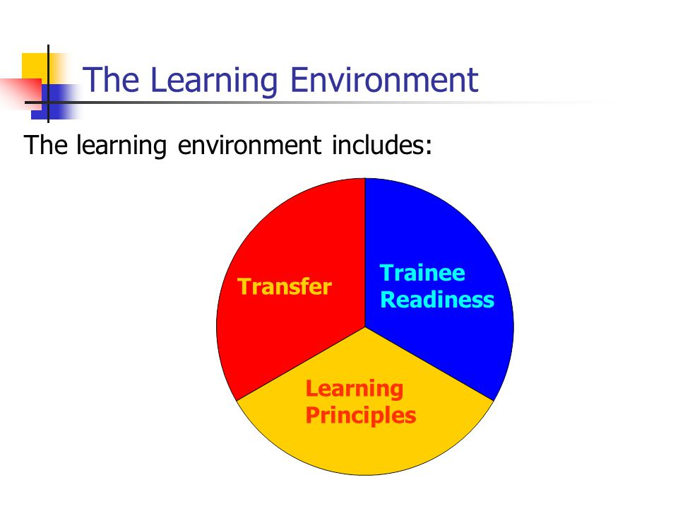 Trainer Qualities of a good trainer Well organized/prepared Outlines what is expected Designs the sequence of learning materials Emphasizes conceptual understanding Lectures are well organized Answers questions clearly Uses examples Sets difficult, but attainable goals Demonstrates usefulness of material Uses visual aids effectively Enthusiastic