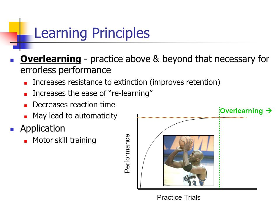 Overlearning - practice above & beyond that necessary for errorless performance Increases resistance to extinction (improves retention) Increases the ease of re-learning Decreases reaction time May lead to automaticity Application Motor skill training Learning Principles Performance Practice Trials Overlearning 
