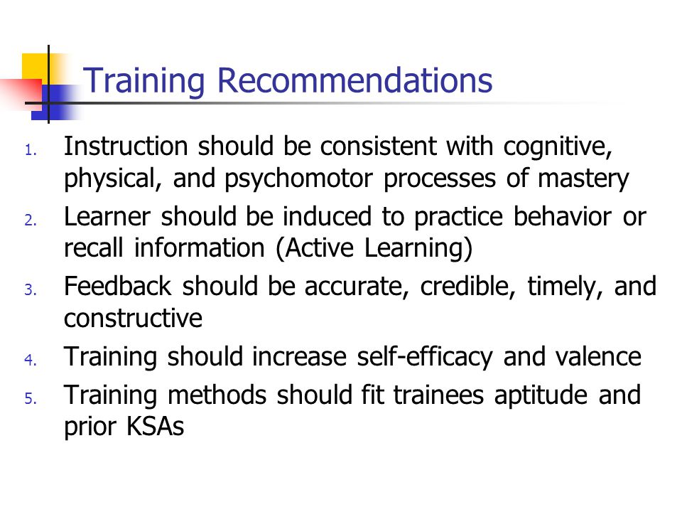 Training Recommendations 1.