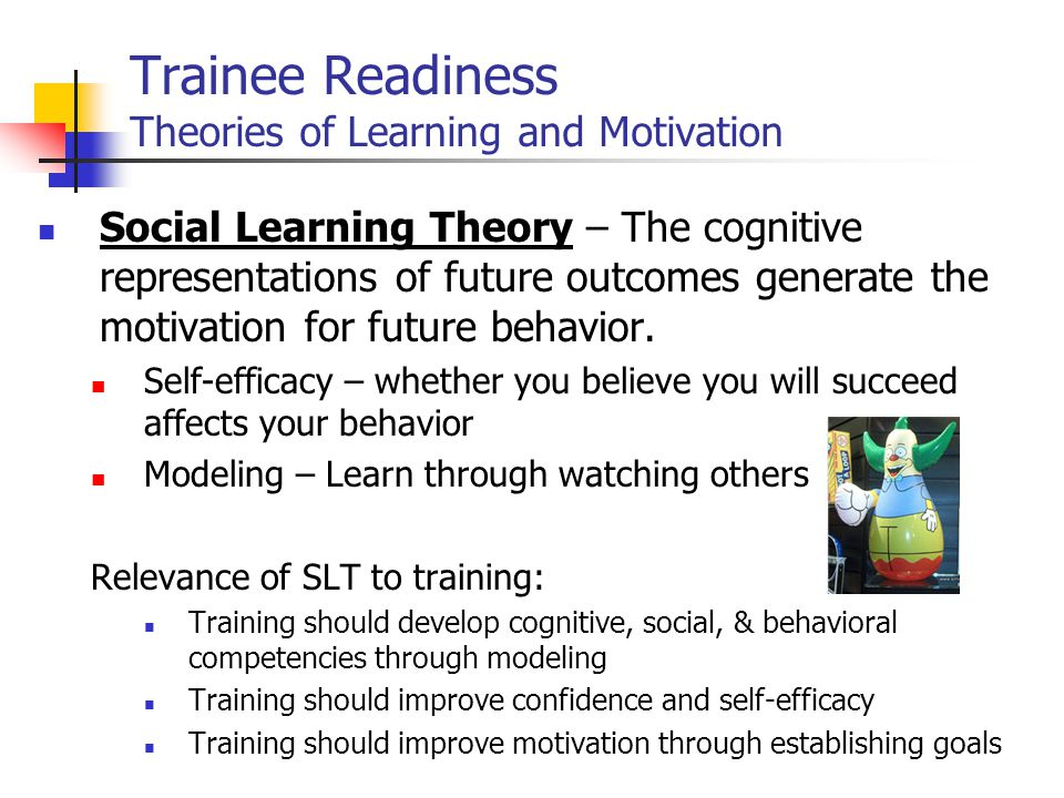 Feedback – knowledge of results (KOR) Provides Information: allows learner to adjust response Motivation: provides goal to decrease diff between actual and ideal performance Reinforcement: praise or self-satisfaction in being right Practice by itself is not training – must include feedback Practice w/out feedback may teach wrong skills Learning Principles