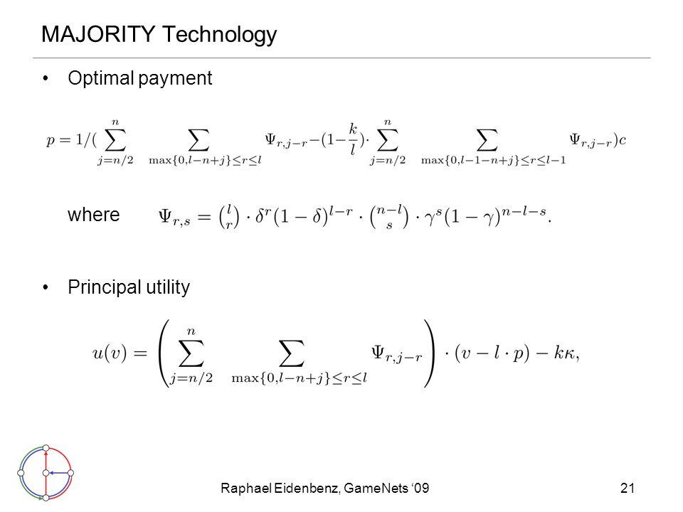 Raphael Eidenbenz, GameNets '0921 MAJORITY Technology Optimal payment where Principal utility