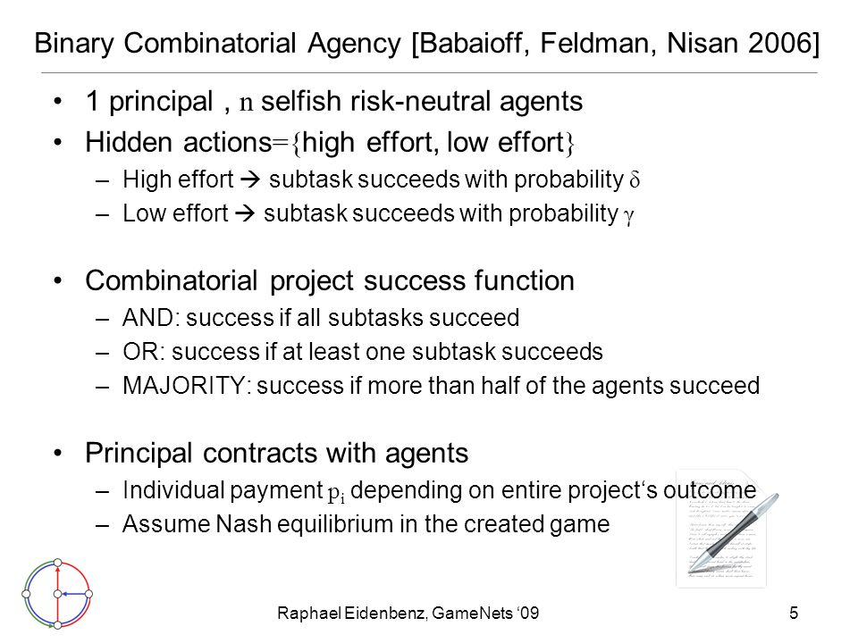 Raphael Eidenbenz, GameNets '095 Binary Combinatorial Agency [Babaioff, Feldman, Nisan 2006] 1 principal, n selfish risk-neutral agents Hidden actions ={ high effort, low effort } –High effort  subtask succeeds with probability δ –Low effort  subtask succeeds with probability γ Combinatorial project success function –AND: success if all subtasks succeed –OR: success if at least one subtask succeeds –MAJORITY: success if more than half of the agents succeed Principal contracts with agents –Individual payment p i depending on entire project's outcome –Assume Nash equilibrium in the created game