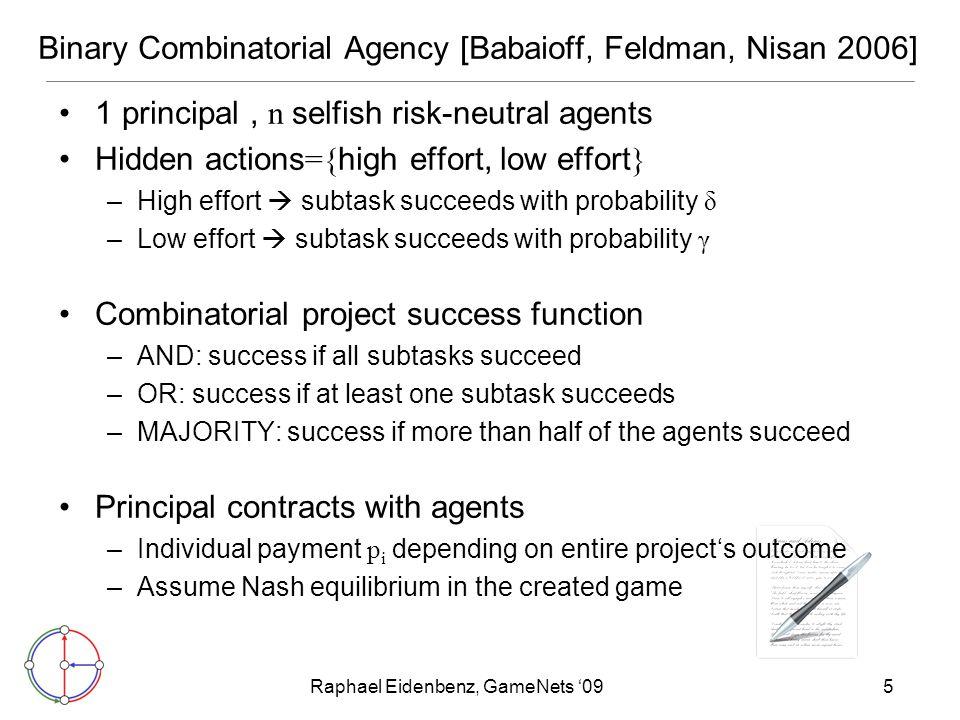Raphael Eidenbenz, GameNets '0916 Bibliography [Babaioff, Feldman, Nisan 2006]: Combinatorial Agency.