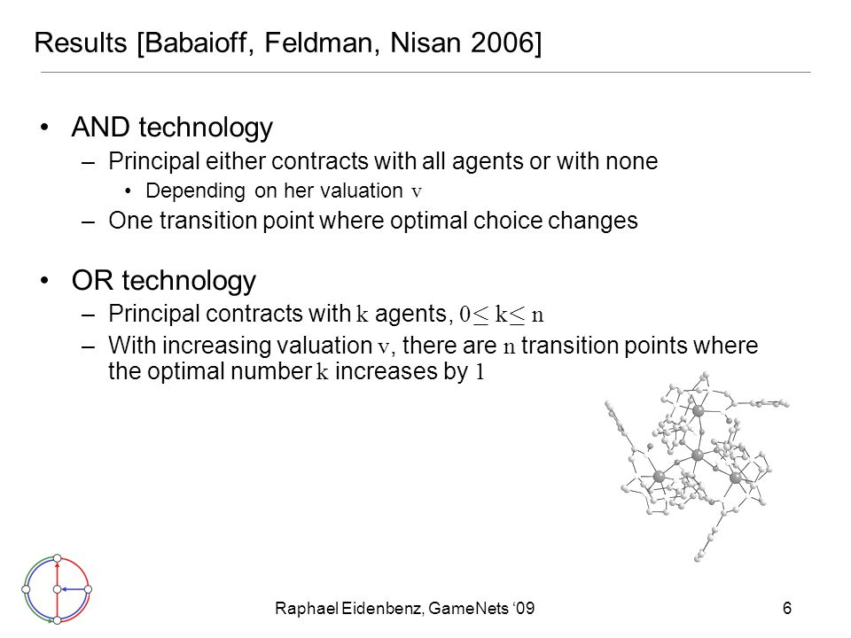 Raphael Eidenbenz, GameNets '096 Results [Babaioff, Feldman, Nisan 2006] AND technology –Principal either contracts with all agents or with none Depen