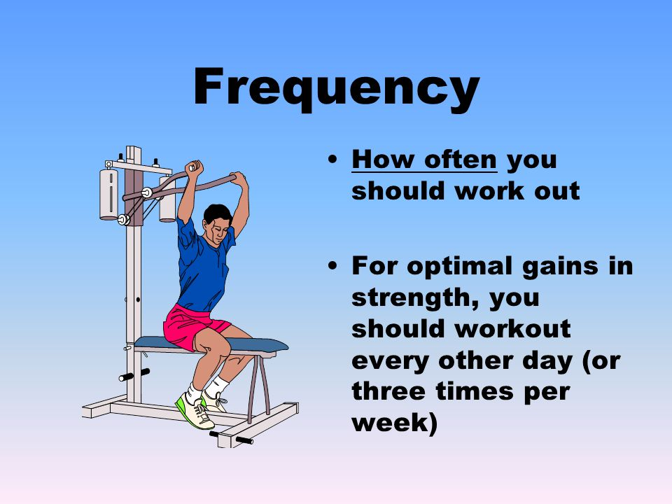 Frequency How often you should work out For optimal gains in strength, you should workout every other day (or three times per week)