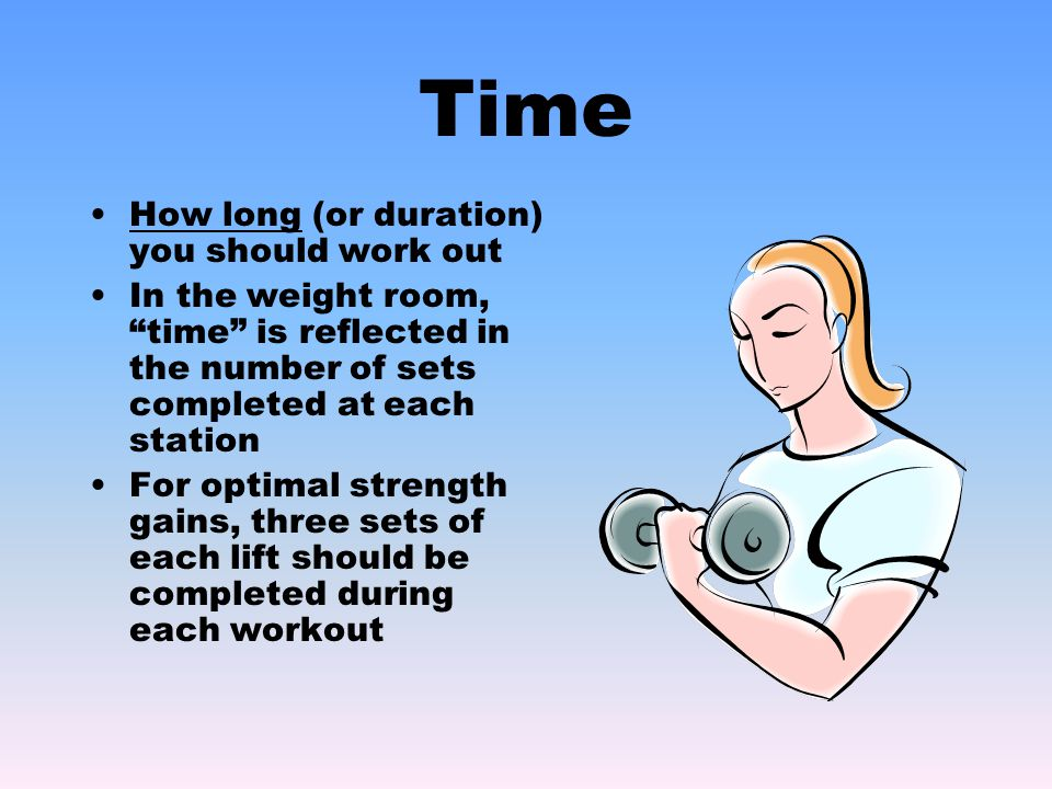 Time How long (or duration) you should work out In the weight room, time is reflected in the number of sets completed at each station For optimal strength gains, three sets of each lift should be completed during each workout