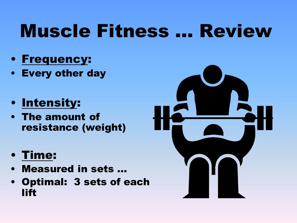 Muscle Fitness … Review Frequency: Every other day Intensity: The amount of resistance (weight) Time: Measured in sets … Optimal: 3 sets of each lift