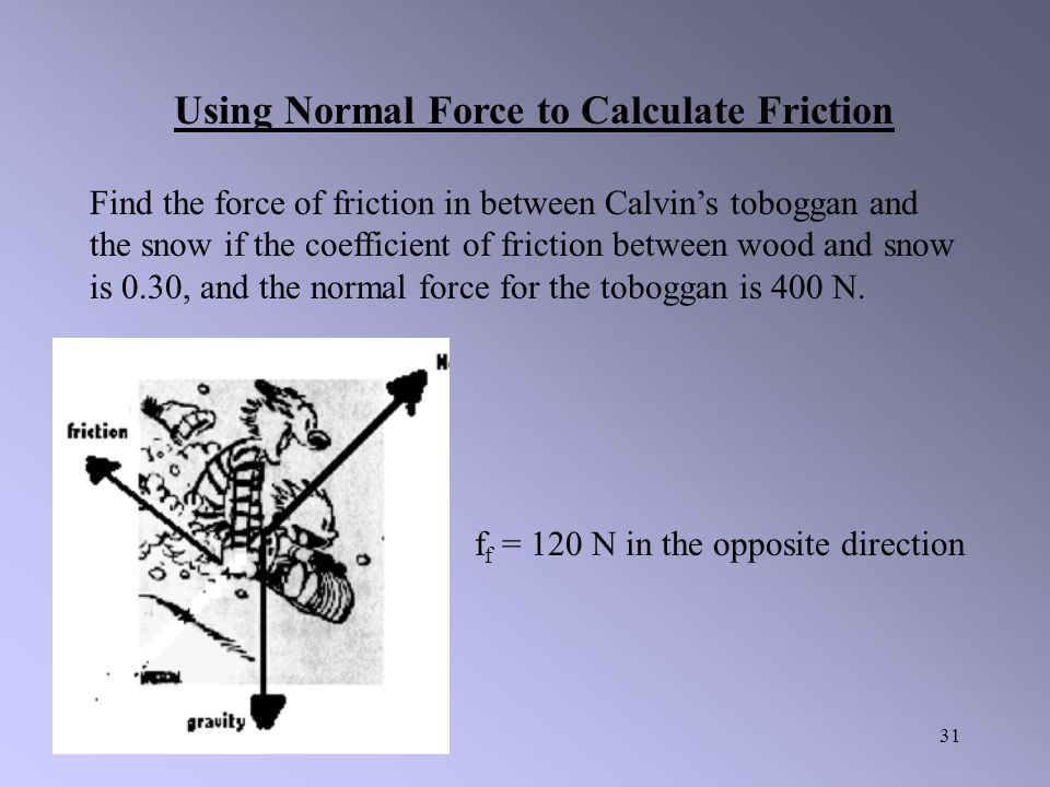 30 The force of friction depends on both the coefficient of friction and the normal force. It can be found using the following formula