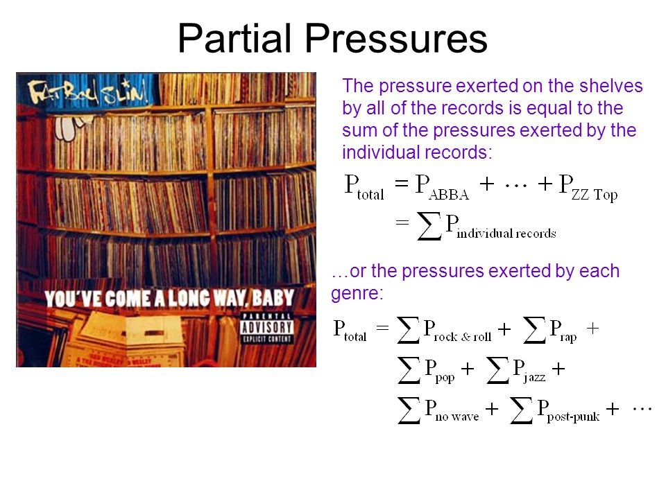 Partial Pressures The pressure exerted on the shelves by all of the records is equal to the sum of the pressures exerted by the individual records: …or the pressures exerted by each genre: