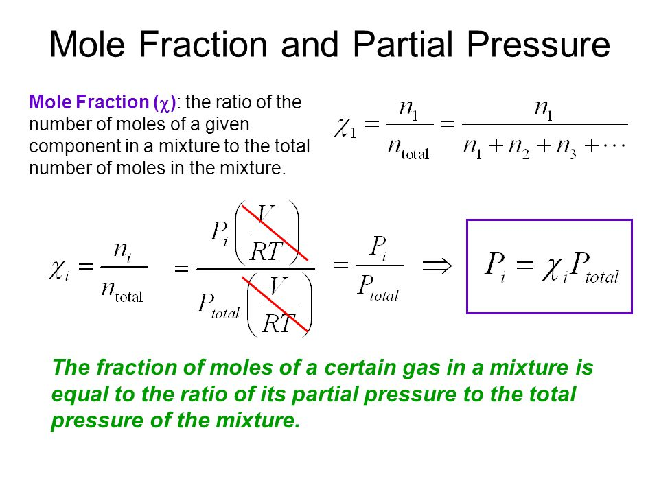 Mole Fraction and Partial Pressure Mole Fraction (  ): the ratio of the number of moles of a given component in a mixture to the total number of moles in the mixture.