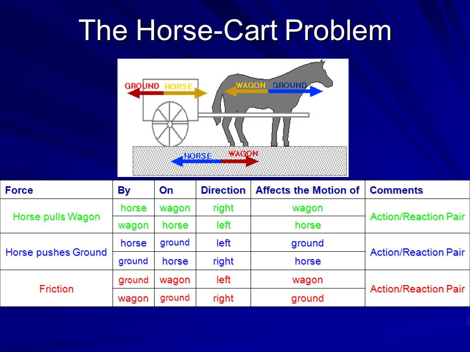 The Horse-Cart Problem ForceByOnDirection Affects the Motion of Comments Horse pulls Wagon horsewagonrightwagon Action/Reaction Pair wagonhorselefthor