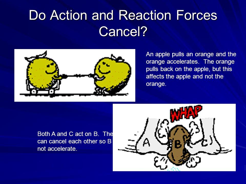 An apple pulls an orange and the orange accelerates. The orange pulls back on the apple, but this affects the apple and not the orange. Both A and C a