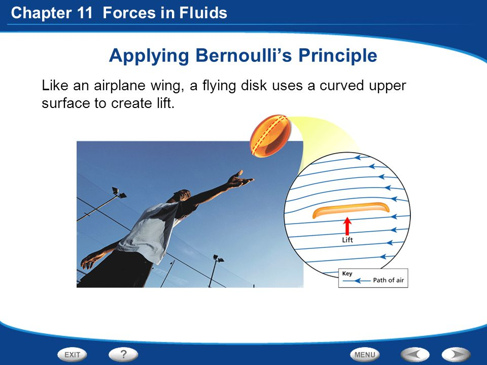 Chapter 11 Forces in Fluids Applying Bernoulli's Principle Like an airplane wing, a flying disk uses a curved upper surface to create lift.