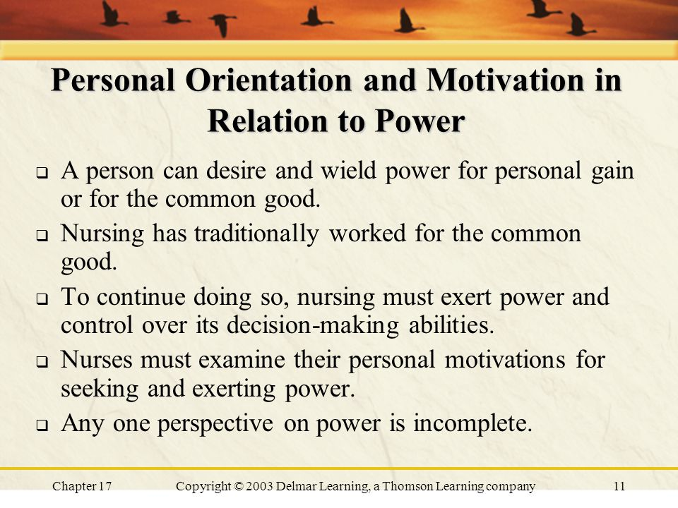 Chapter 17Copyright © 2003 Delmar Learning, a Thomson Learning company11 Personal Orientation and Motivation in Relation to Power  A person can desire and wield power for personal gain or for the common good.