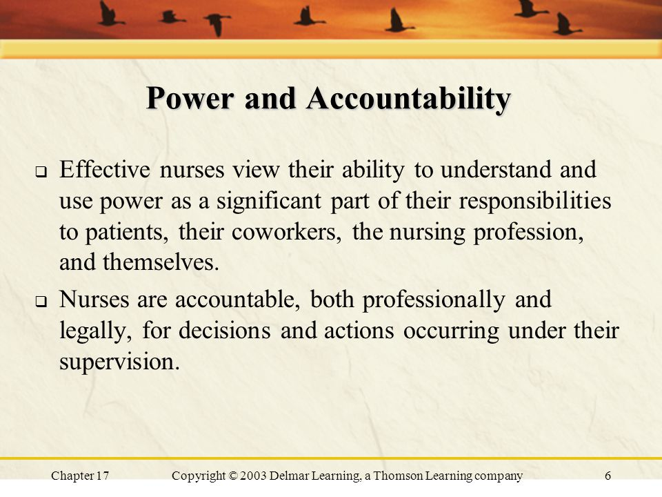 Chapter 17Copyright © 2003 Delmar Learning, a Thomson Learning company7 Power and Accountability  Accountability without authority to make responsible decisions poses a threat to nurses individually and collectively.