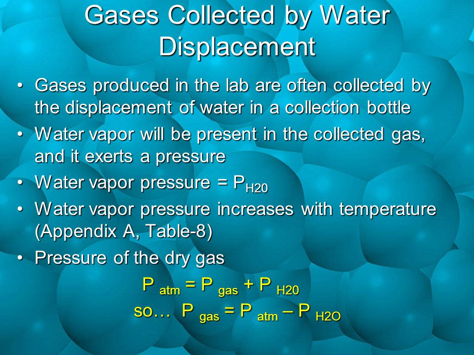 Gases Collected by Water Displacement Gases produced in the lab are often collected by the displacement of water in a collection bottleGases produced in the lab are often collected by the displacement of water in a collection bottle Water vapor will be present in the collected gas, and it exerts a pressureWater vapor will be present in the collected gas, and it exerts a pressure Water vapor pressure = P H20Water vapor pressure = P H20 Water vapor pressure increases with temperature (Appendix A, Table-8)Water vapor pressure increases with temperature (Appendix A, Table-8) Pressure of the dry gasPressure of the dry gas P atm = P gas + P H20 so… P gas = P atm – P H2O