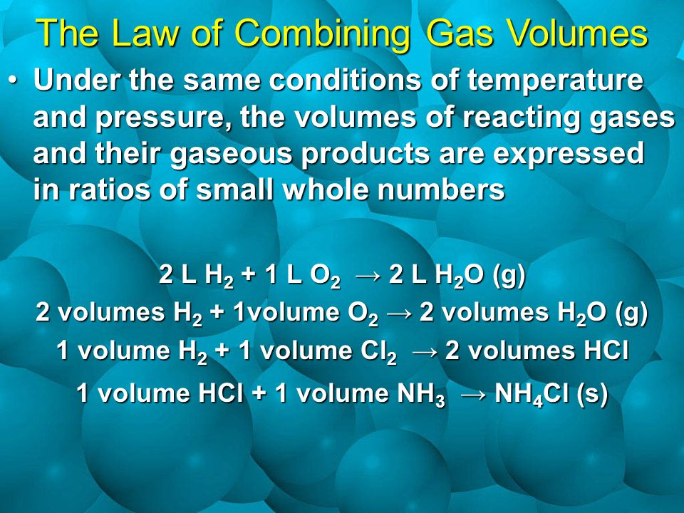 Under the same conditions of temperature and pressure, the volumes of reacting gases and their gaseous products are expressed in ratios of small whole