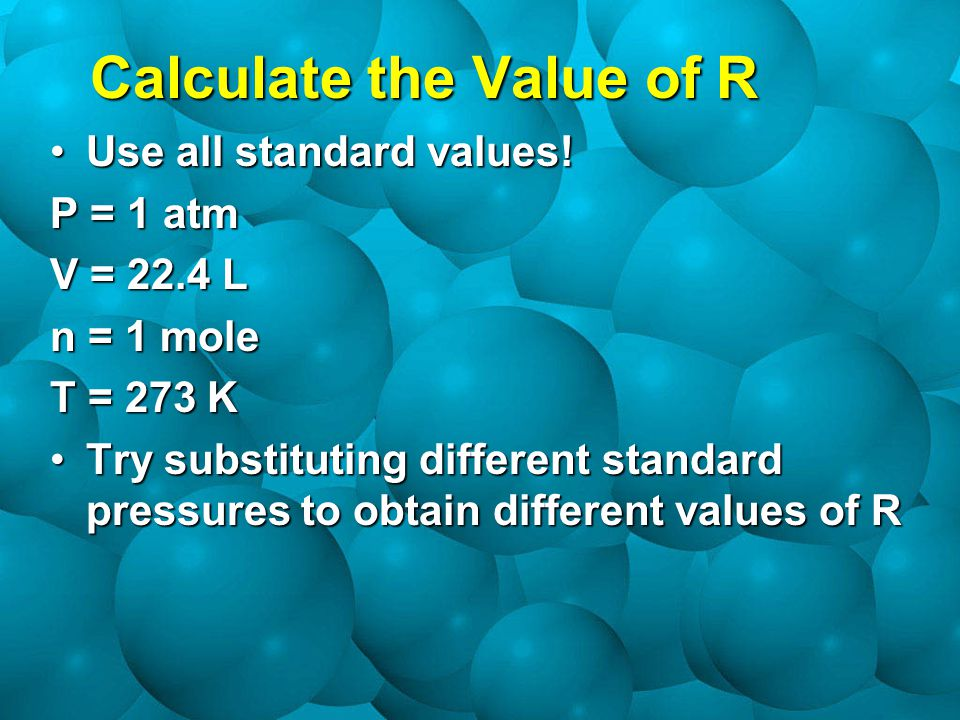 Calculate the Value of R Use all standard values!Use all standard values.
